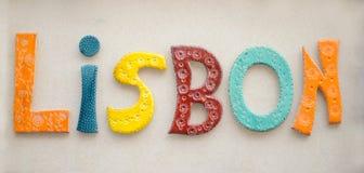 Красочное керамическое слово Лиссабон Стоковые Фото