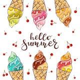 Красочное мороженое с вишней на белой предпосылке Стоковые Фото