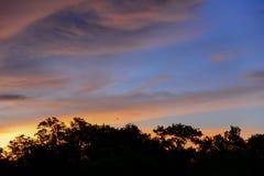Красочное небо на зоре с красочным небом Стоковое Изображение