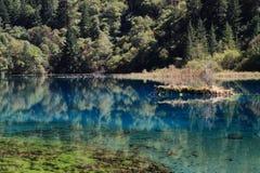 Красочное озеро в национальном парке Jiuzhaigou Сычуань Китая Стоковая Фотография RF