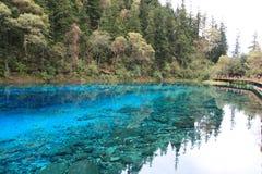 Красочное озеро в национальном парке Jiuzhaigou Сычуань Китая Стоковые Фотографии RF