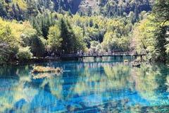 Красочное озеро в национальном парке Jiuzhaigou Стоковое Изображение