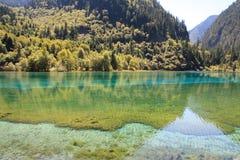 Красочное озеро в национальном парке Jiuzhaigou Стоковая Фотография