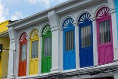 Красочное окно в азиатском доме стоковое фото rf