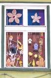 Красочное окно от Румынии с birdhouses стоковое фото rf