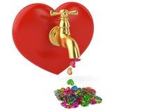 Красочное падение конфеты от большого сердца изолированного на белой предпосылке иллюстрация штока