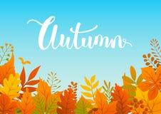 Красочное падение осени выходит предпосылка границы иллюстрация вектора