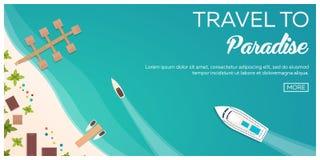 Красочное перемещение к раю пляж тропический Вкладыш круиза Самый лучший круиз Знамя вектора плоское для вашего дела иллюстрация вектора