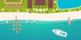 Красочное перемещение к раю пляж тропический Вкладыш круиза Самый лучший круиз Знамя вектора плоское для вашего дела бесплатная иллюстрация