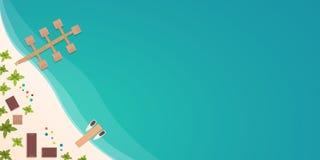Красочное перемещение к раю пляж тропический Самый лучший круиз Знамя вектора плоское для вашего дела бесплатная иллюстрация