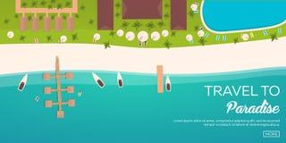 Красочное перемещение к раю пляж тропический Самый лучший круиз Знамя вектора плоское для вашего дела иллюстрация вектора