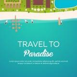Красочное перемещение к раю пляж тропический Самый лучший круиз Знамя вектора плоское для вашего дела иллюстрация штока