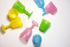Красочное пластичное взгляд сверху стекел Стоковые Фотографии RF