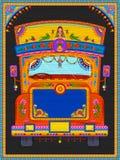 Красочное радушное знамя в стиле кич искусства тележки Индии Иллюстрация штока