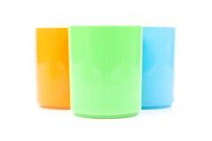 Красочное разнообразие пластичных чашек Стоковые Изображения RF