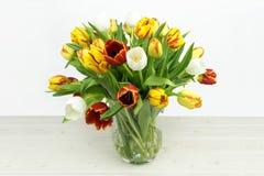 Красочное смешивание Tulpia на деревянной предпосылке стоковые фотографии rf