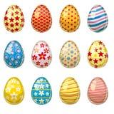 Красочное собрание пасхального яйца, вектор, изолированный стиль шаржа, Стоковая Фотография RF