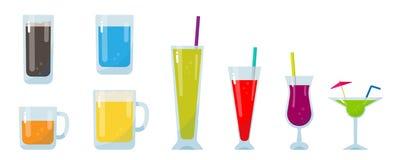 Красочное стекло комплекта питья, иллюстрация вектора