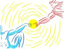 Красочное стилизованное творение Адама изолировало иллюстрация штока