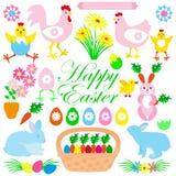 Красочное счастливое собрание пасхи значков с кроликом, зайчиком, яичком Стоковая Фотография RF