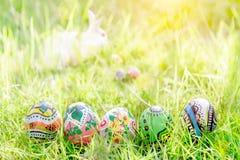 Красочное яичко на зеленой траве Стоковое Изображение