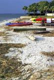 Красочное Kiaks на пляже в городке гавани, Hilton Head Island стоковая фотография