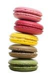 Красочное Macaron изолированное на белой предпосылке с путем клиппирования Стоковая Фотография RF