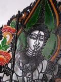 Красочное Nang Yai или драма тени марионетки на виске Wat Khanon, Таиланде Стоковое Изображение