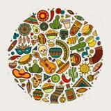 Красочной комплект шаржа doodle вектора нарисованный рукой латино-американского Стоковые Фото