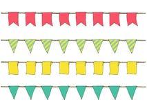 Красочной нарисованные рукой знамена овсянки doodle для украшения Комплект знамени шаржа, bunting флаги, эскиз границы декоративн Стоковые Изображения RF