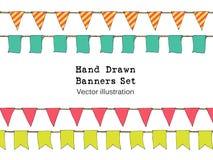 Красочной нарисованные рукой знамена овсянки doodle установили для украшения Комплект знамени шаржа, bunting флаги, эскиз границы Стоковое фото RF