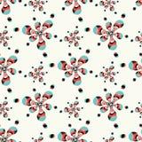 Красочные абстрактные цветки на картине белой предпосылки безшовной vector иллюстрация Стоковая Фотография RF