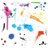 Красочные абстрактные splats краски чернил вектора иллюстрация штока