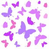 Красочные бабочки, на белизне Стоковые Изображения