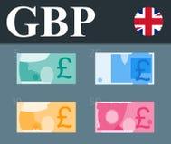 Красочные банкноты фунта стерлинга Плоская иллюстрация дизайна Стоковое фото RF