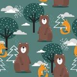 Красочные безшовные картина, медведи, лисы и деревья Декоративная милая предпосылка с животными иллюстрация вектора