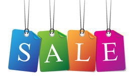 Красочные бирки продажи с потоком Иллюстрация штока