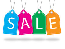 Красочные бирки продажи с потоком Иллюстрация вектора