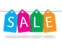 Красочные бирки продажи с потоком Бесплатная Иллюстрация