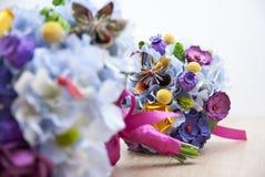 Красочные бумажные цветки - букет невесты Стоковое Фото