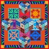 Красочные винтажные плитки с флористическими и геометрическими картинами Стоковые Изображения