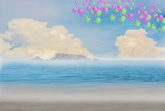 Красочные воздушные шары на пляже, голубом небе и островах стоковое фото rf