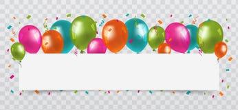 Красочные воздушные шары с открытым космосом белой бумаги confetti и лент предпосылка прозрачная Вектор дня рождения, партии и ма стоковое изображение