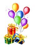 Красочные воздушные шары с подарочными коробками Иллюстрация акварели нарисованная рукой, изолированная на белой предпосылке Стоковая Фотография