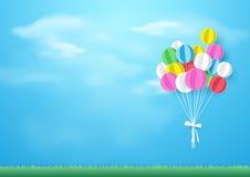 Красочные воздушные шары летая над травой Бумажный стиль искусства и ремесла иллюстрация вектора