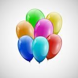 Красочные воздушные шары с белой предпосылкой Стоковая Фотография RF