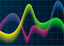 Красочные волны на голубой предпосылке решетки Стоковые Изображения