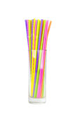 Красочные выпивая соломы на белизне Стоковое фото RF