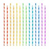 Красочные выпивая установленные соломы 3D Striped значок изолированный в белой предпосылке также вектор иллюстрации притяжки core Стоковое Фото