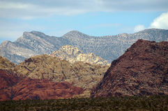 Красочные горы красного каньона утеса, Невады Стоковые Фотографии RF